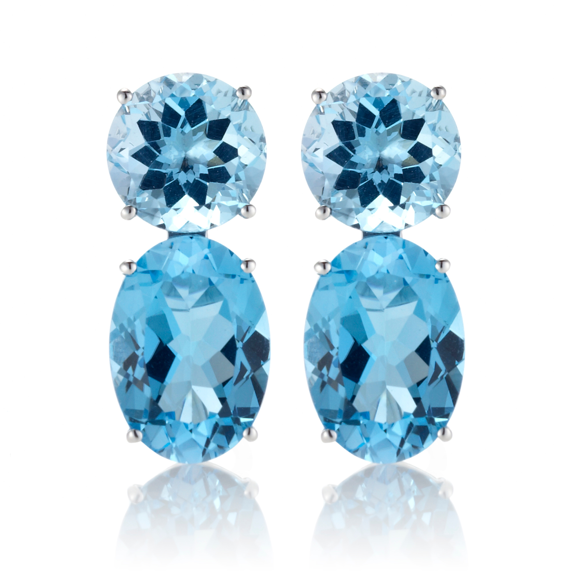 Gump's Round & Oval Faceted Two-Tone Blue Topaz Earrings