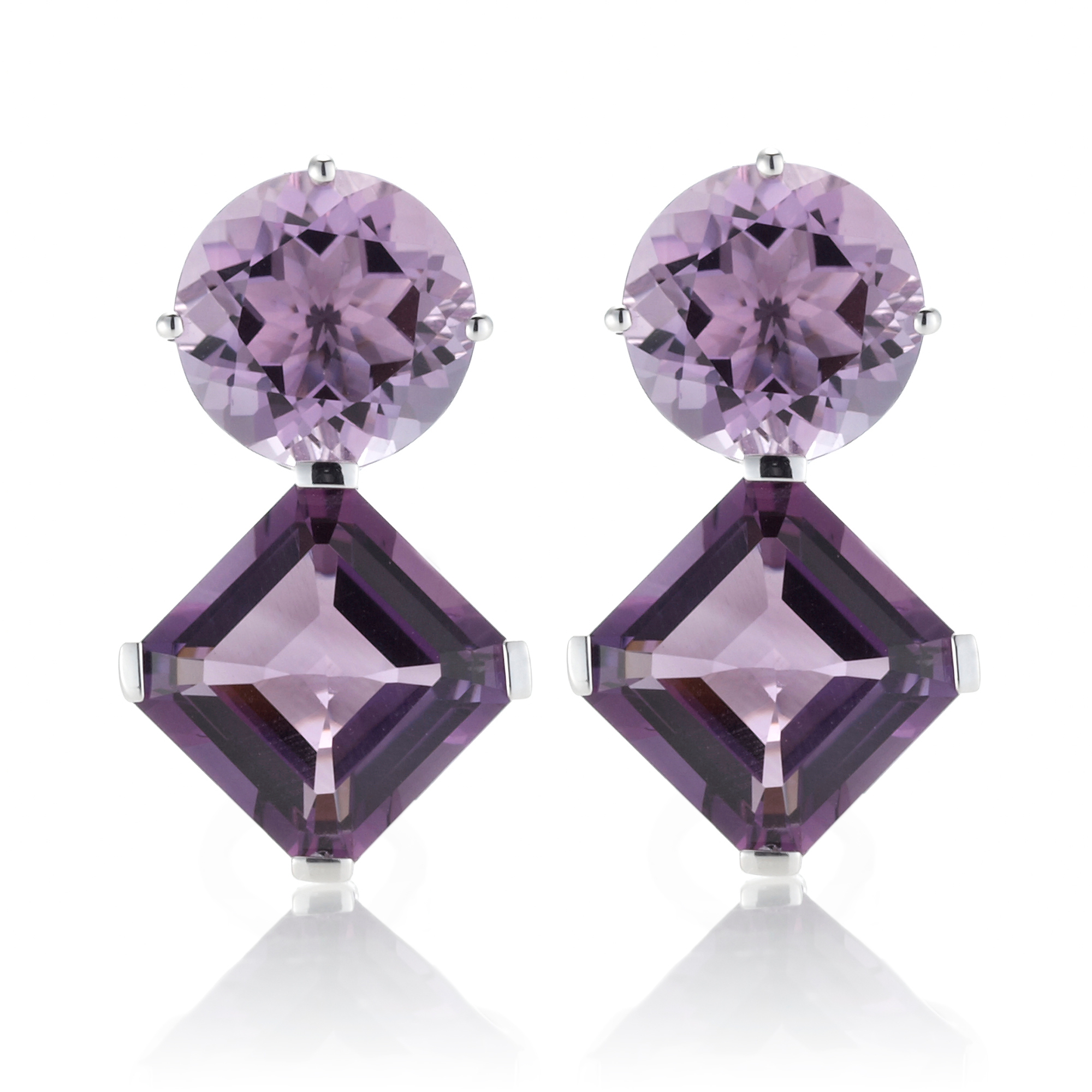 Gump's Round & Square Faceted Two-Tone Amethyst Earrings