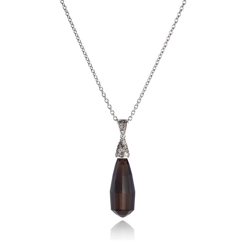 Gump's Faceted Smokey Quartz & Pavé Diamond Pendant Necklace