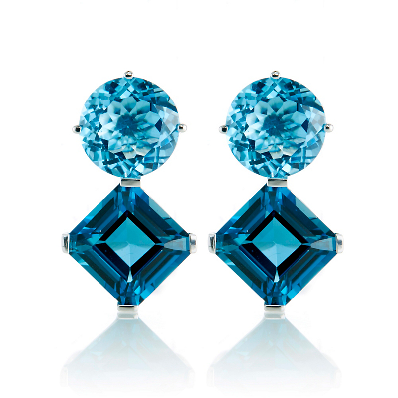 Gump's Round & Square Faceted Two-Tone Blue Topaz Earrings