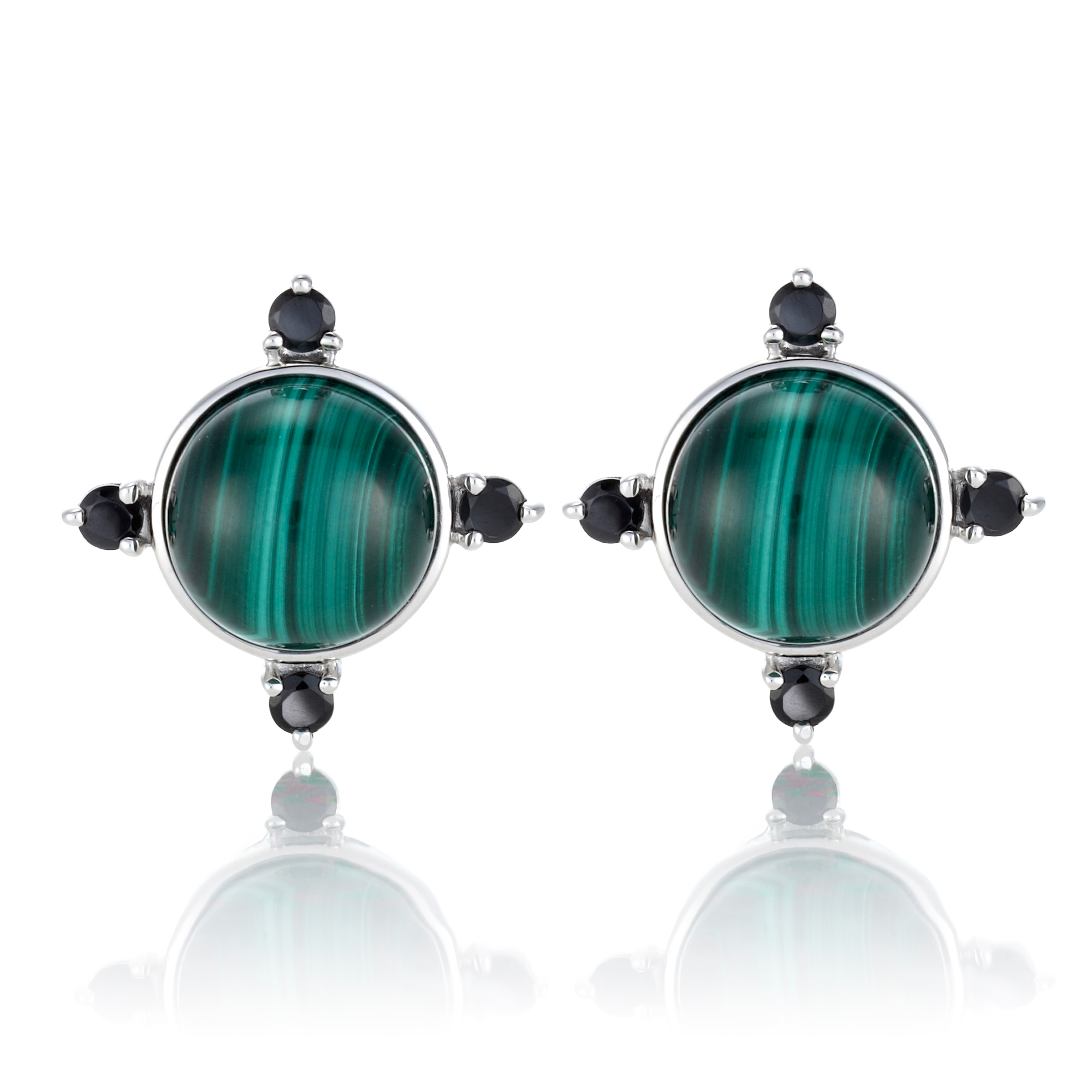 Gump's Malachite Cabochon & Black Spinel Four Points Earrings