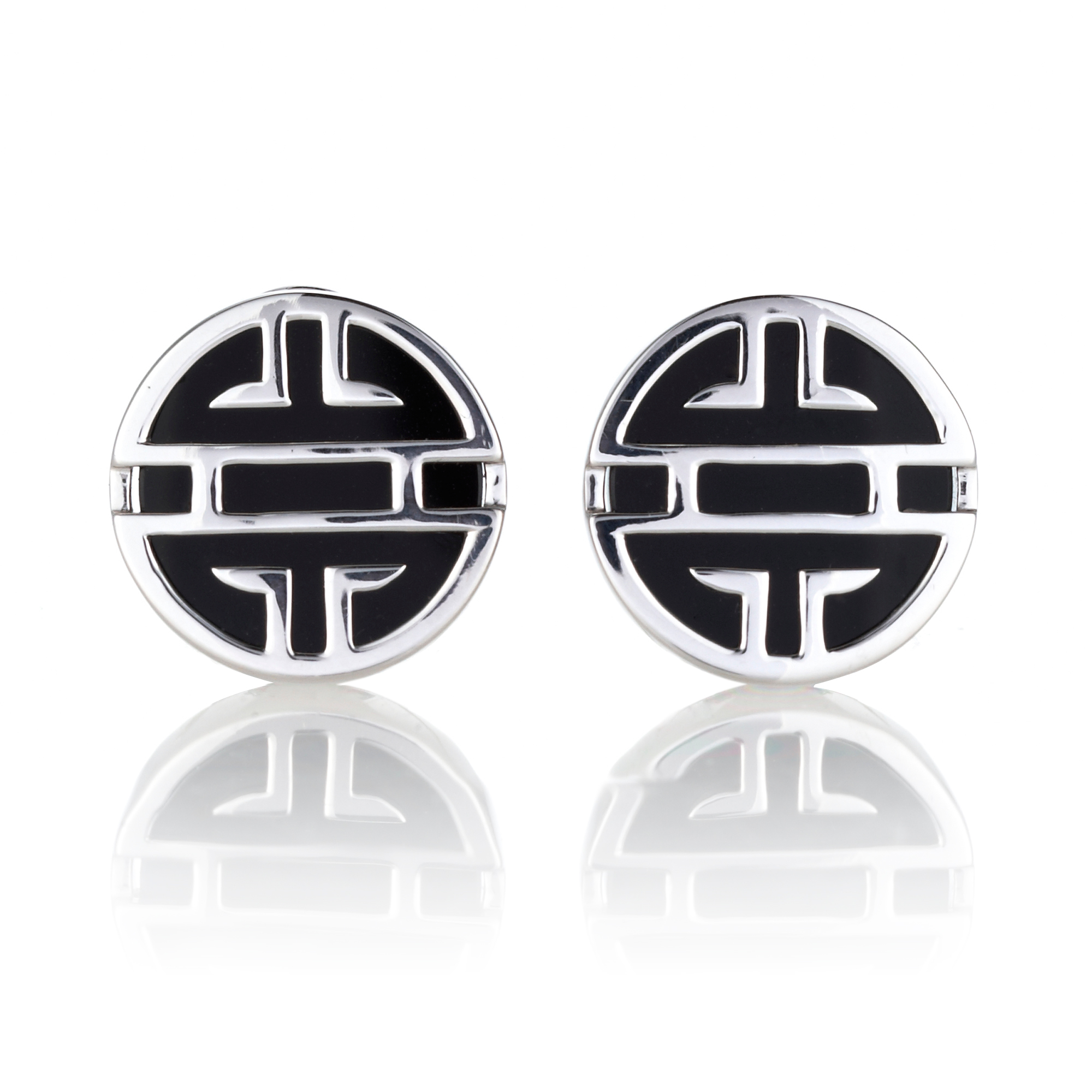 Gump's Silver Shou & Onyx Disc Earrings