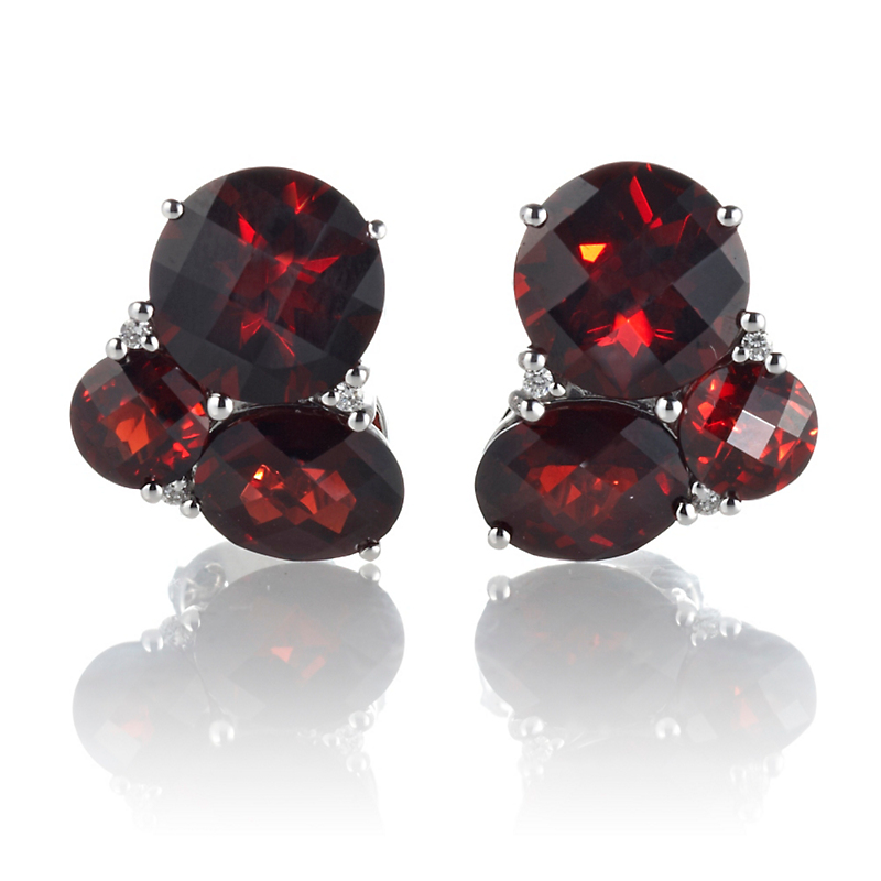 Gump's Garnet & Diamond Cluster Silver Earrings