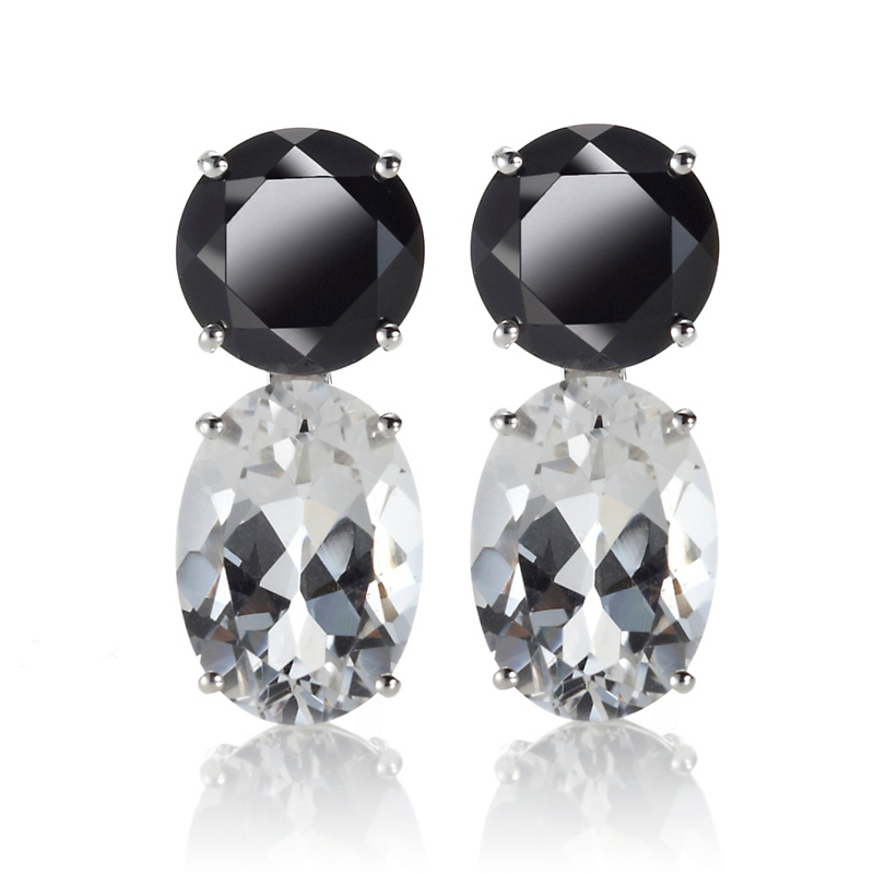 Gump's Onyx & White Quartz Drop Earrings