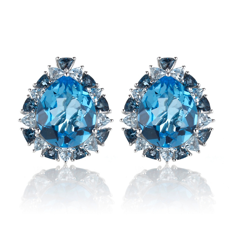 Gump's Blue Topaz Pear Halo Earrings