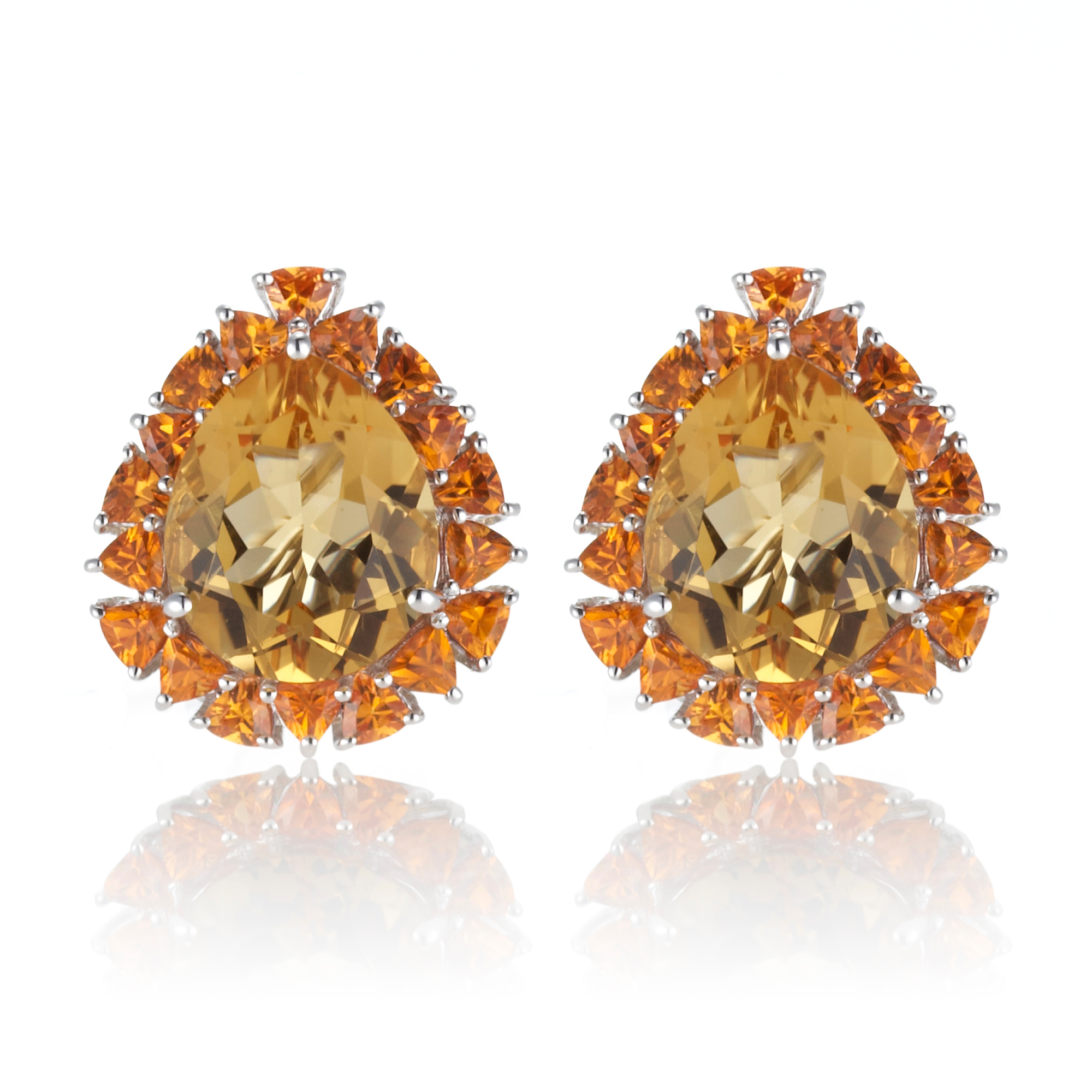 Gump's Citrine & Spessartite Pear Halo Earrings