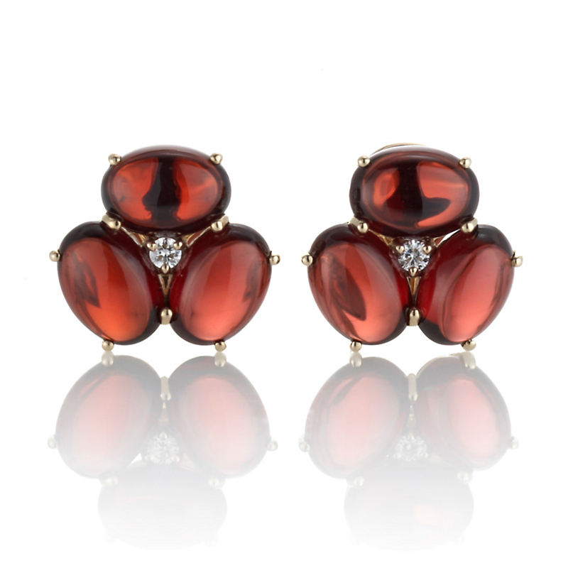 Gump's Garnet Cabochon & Diamond Cluster Earrings