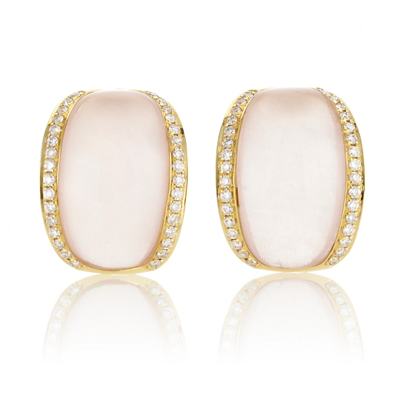 Rose Quartz Diamond Cuff Earrings