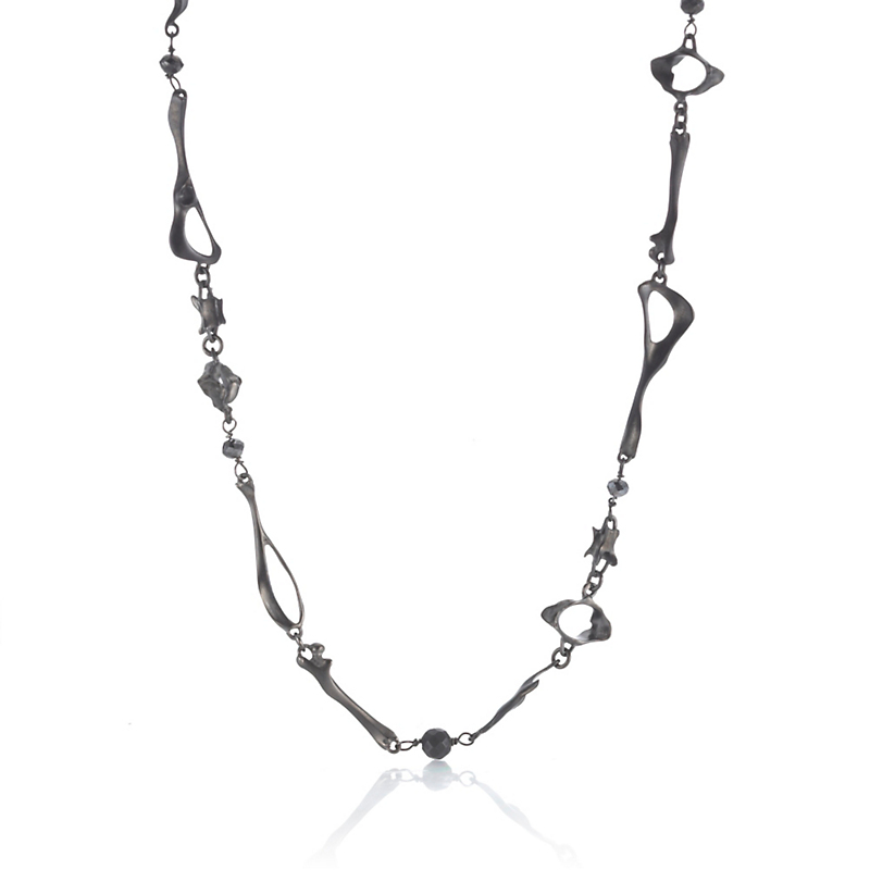 Gabriella Kiss Oxidized Bronze & Black Diamond Mouse Bone Necklace