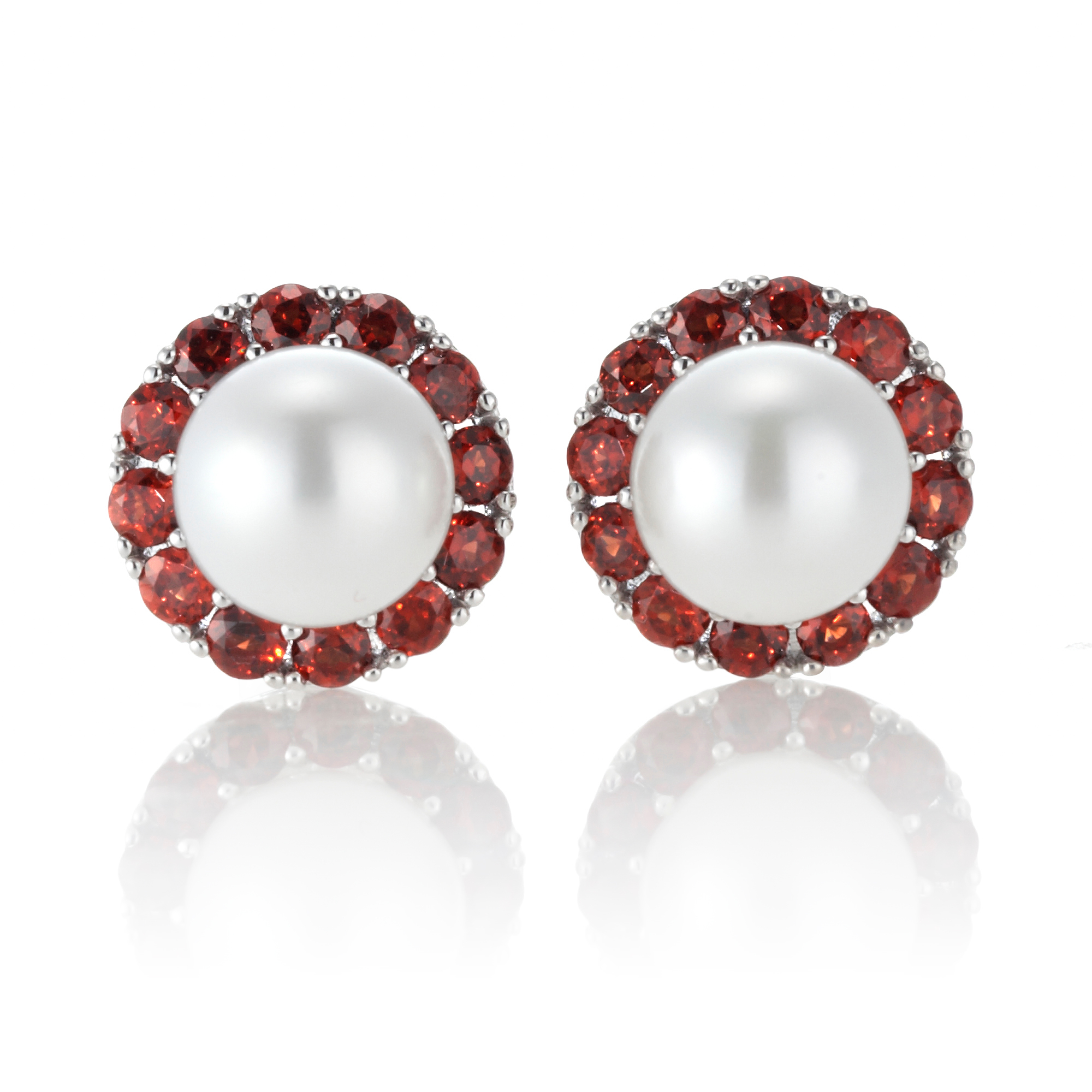 Gump's Garnet & Pearl Earrings