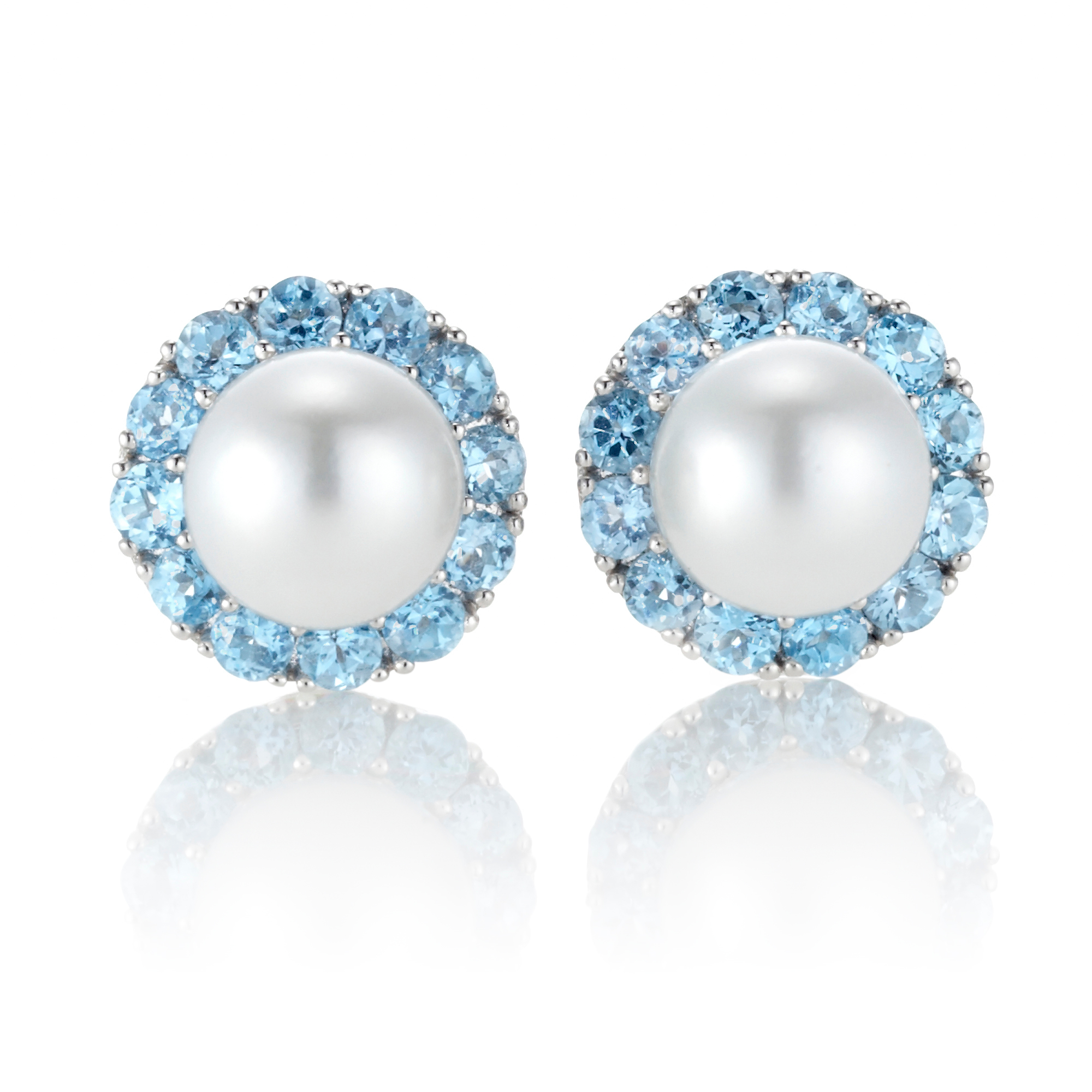 Gump's Blue Topaz & Pearl Earrings