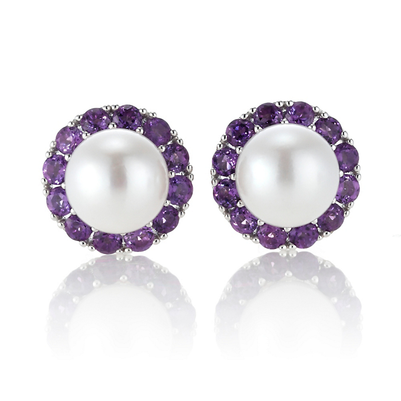 Gump's Amethyst & Pearl Earrings