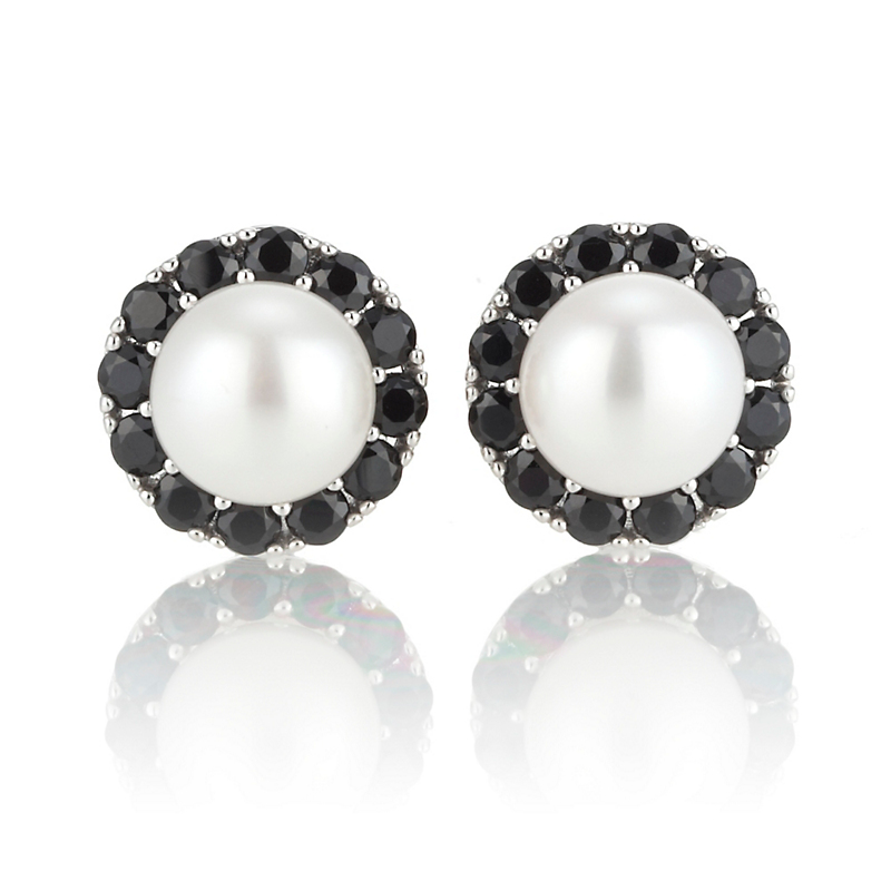 Gump's Black Onyx & Pearl Earrings