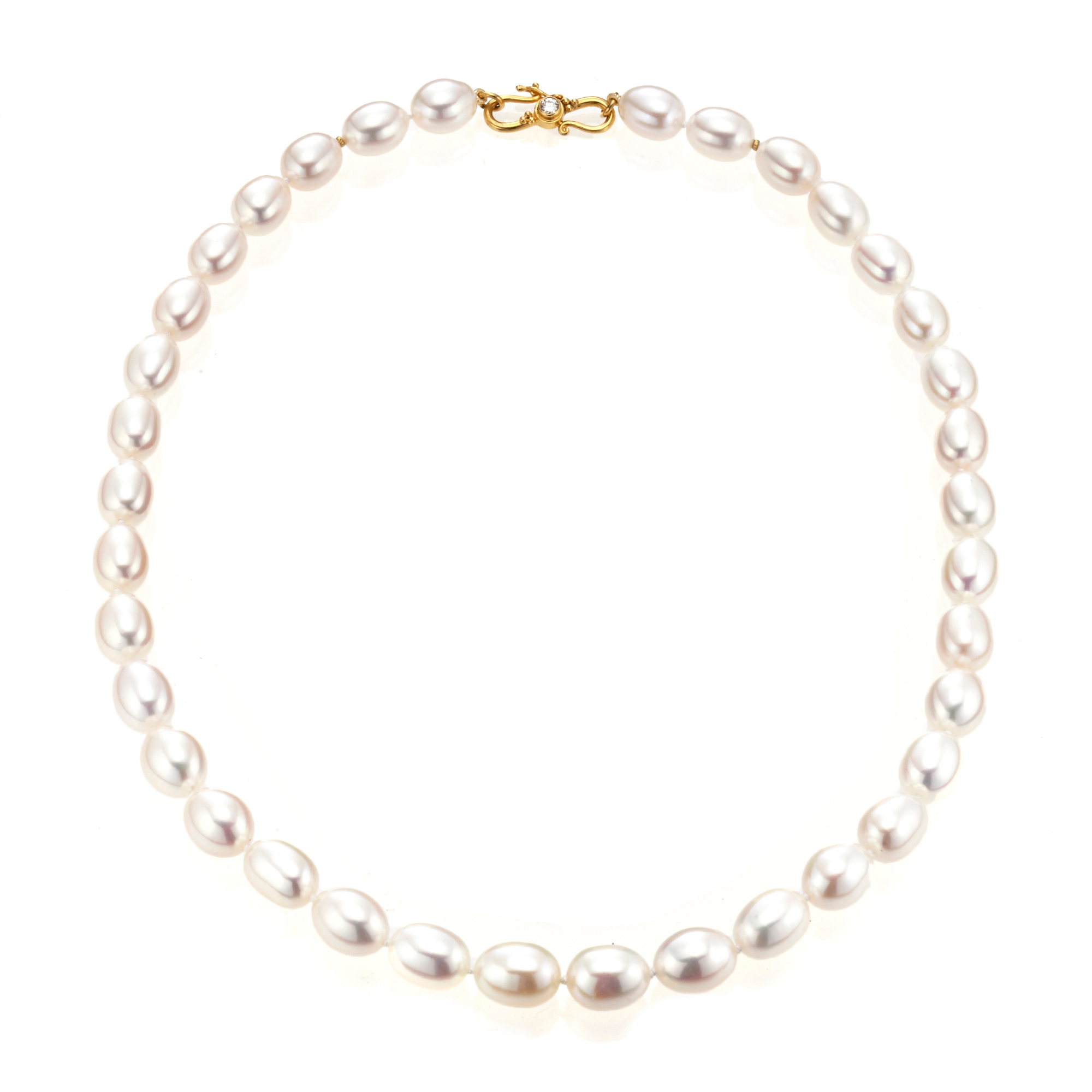 Gump's Baroque Pearl Necklace With Gold and Diamond Clasp