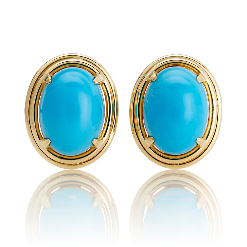 Gump's Turquoise Cabochon Double Bezel Earrings