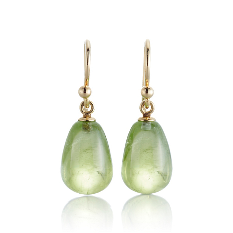 Gump's Green Peridot Pear Drop Earrings
