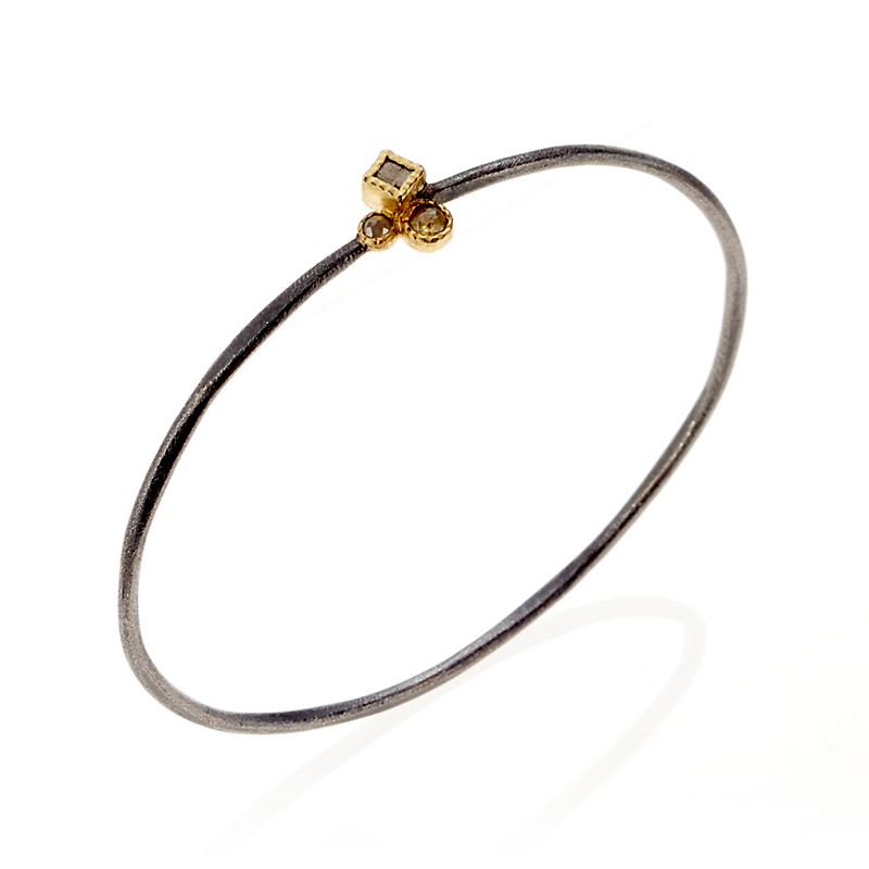 Todd Reed Oxidized Sterling Silver & Gold Diamond Bangle