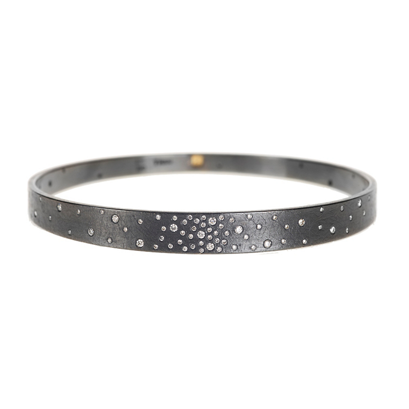 Todd Reed Oxidized Silver Diamond Studded Bangle