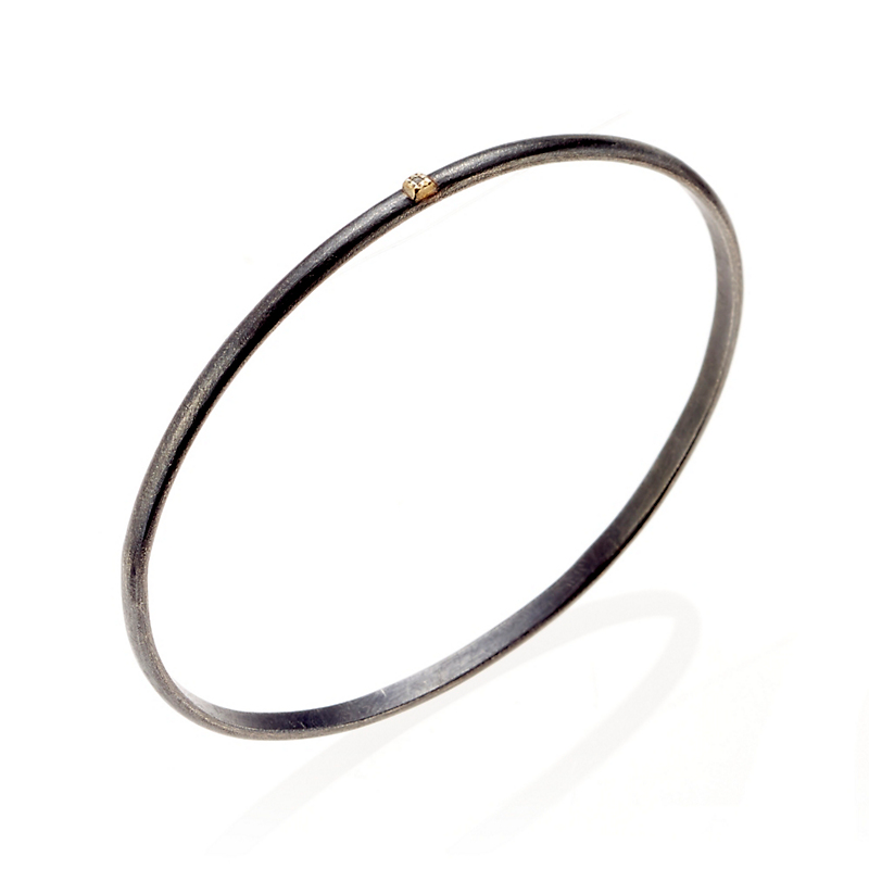 Todd Reed Oxidized Sterling Silver & Gold Raw Diamond Bangle