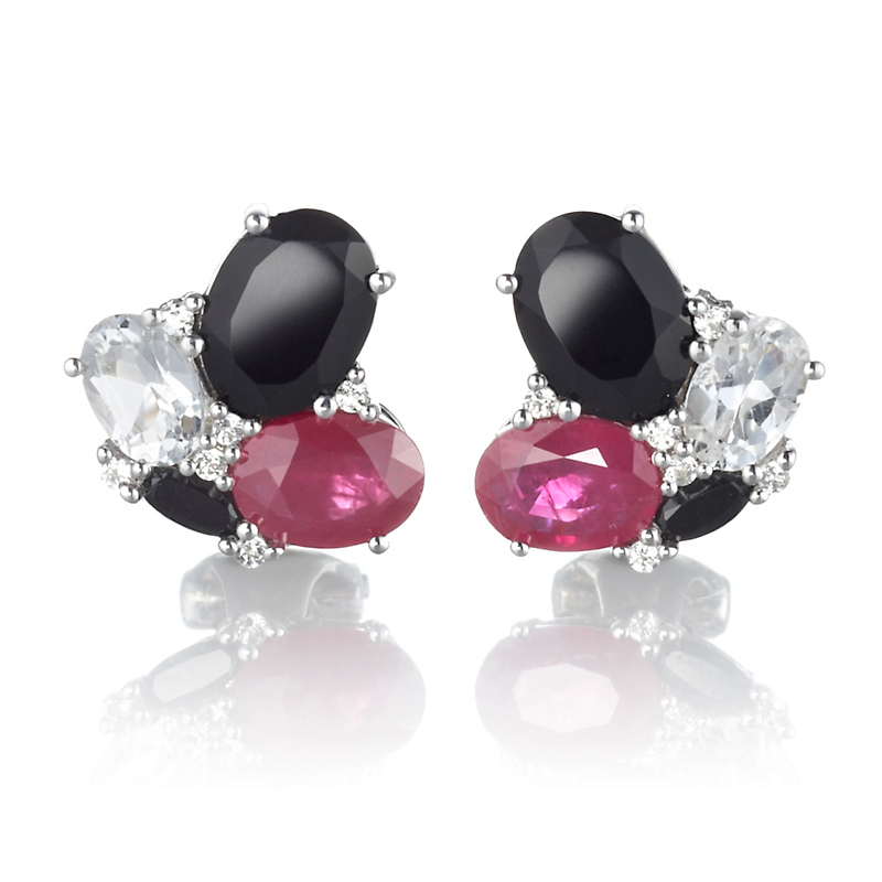 Gump's Small Black Spinel Ruby & White Topaz Silver Earrings