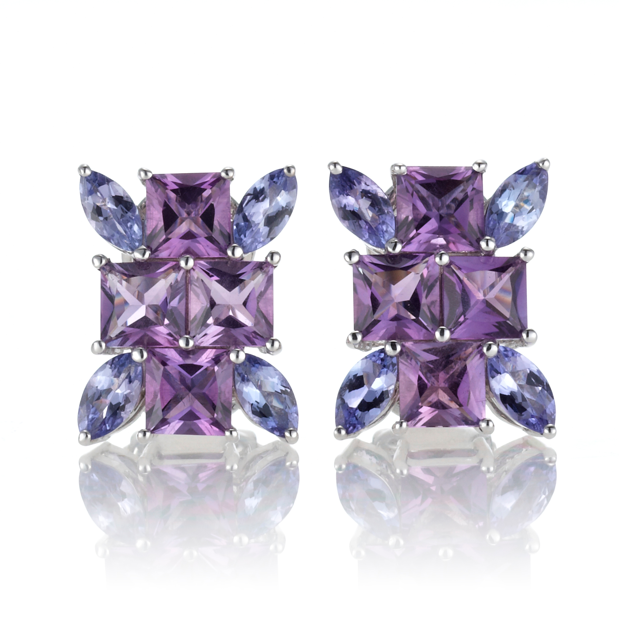 Gump's Amethyst & Tanzanite Cluster Burst Earrings