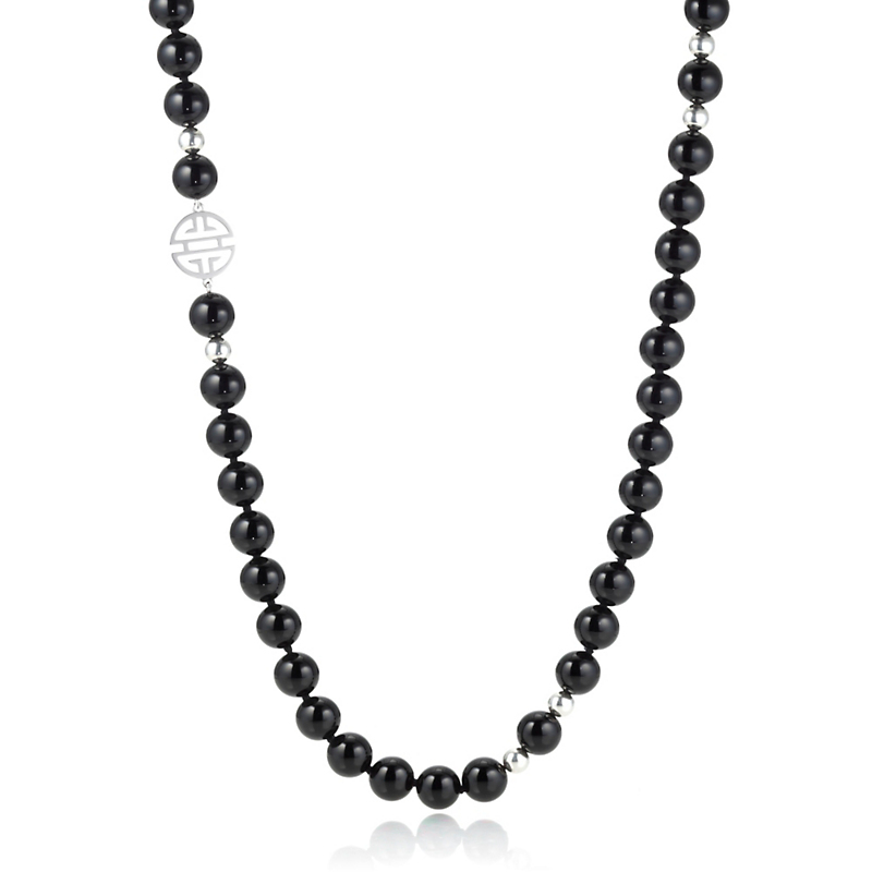 Gump's Silver Shou & Bead Onyx Rope
