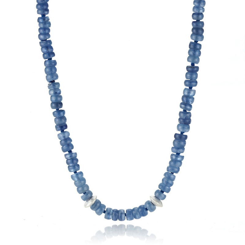Gump's Kyanite Rondelle & Textured Silver Disc Rope