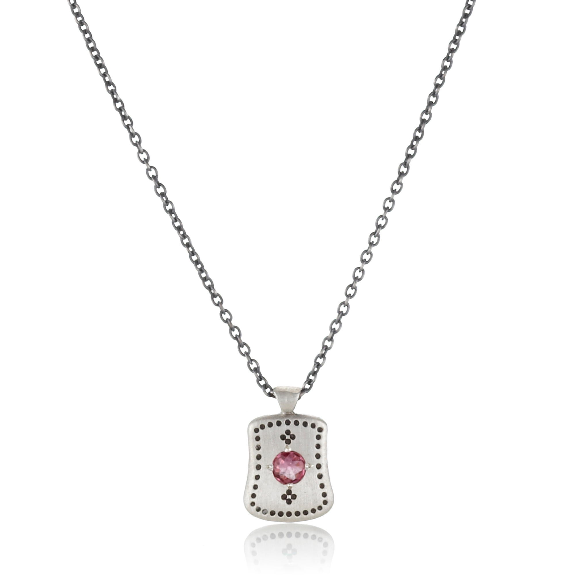 Adel Chefridi Pink Tourmaline Dotted Silver Pendant Necklace