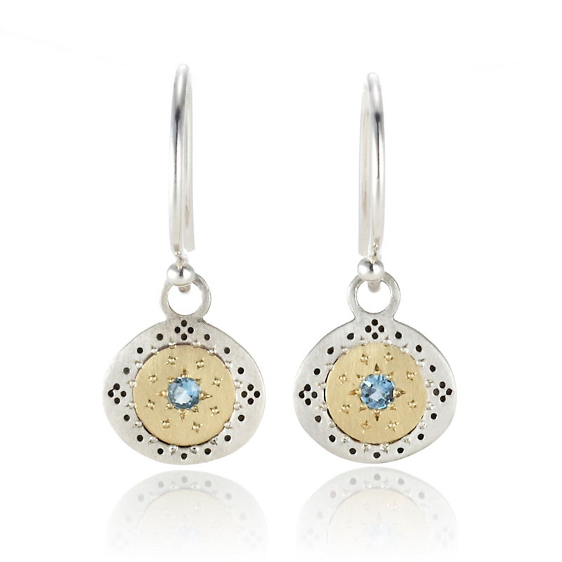 Adel Chefridi Seeds of Harmony Aquamarine Mixed Metal Round Drop Earrings