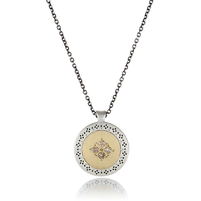 Adel Chefridi Seeds of Harmony Four Brown Diamond Mixed Metal Pendant Necklace