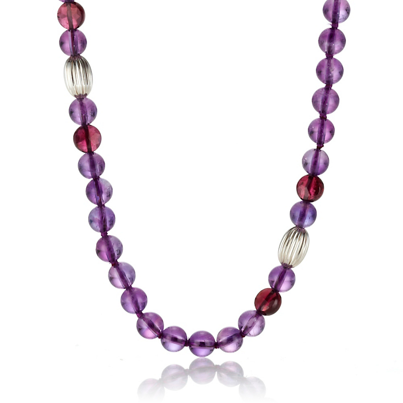 Gump's Amethyst, Garnet & Fluted Silver Rope Necklace