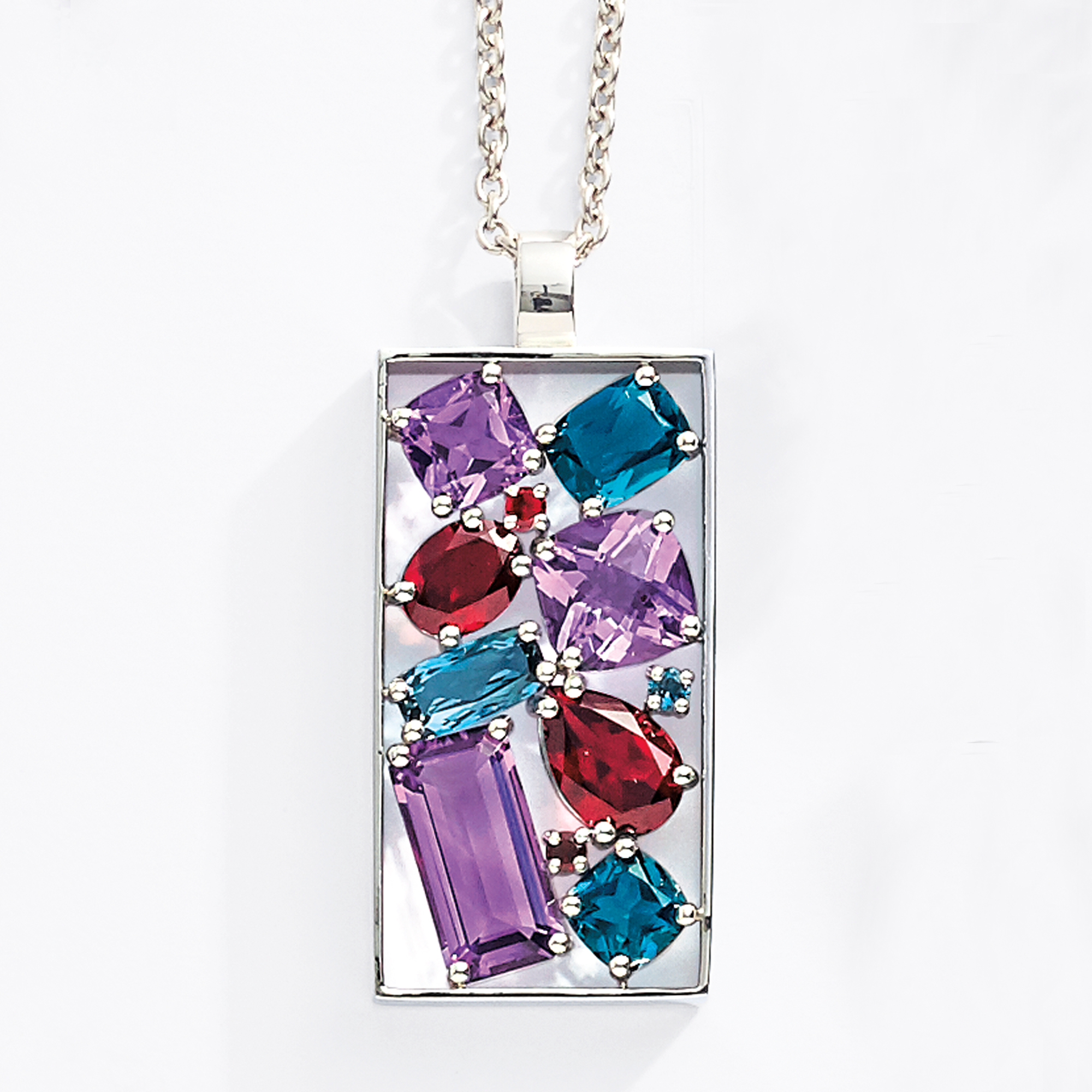 Gump's Faceted Blue Topaz, Garnet, Amethyst & Silver Cluster Necklace