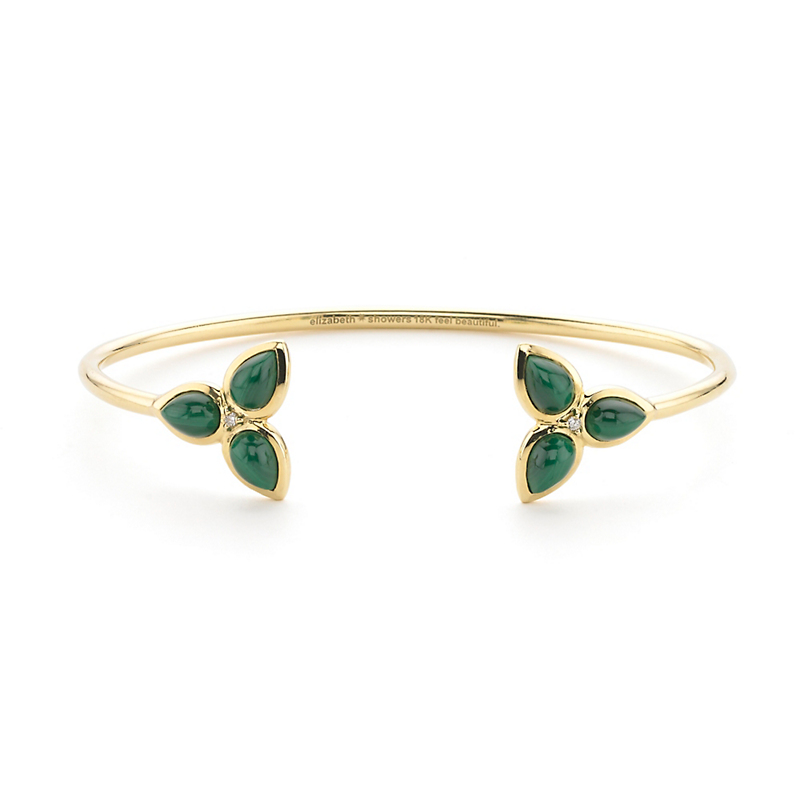 Elizabeth Showers Malachite & Diamond Double Mariposa Cuff Bracelet