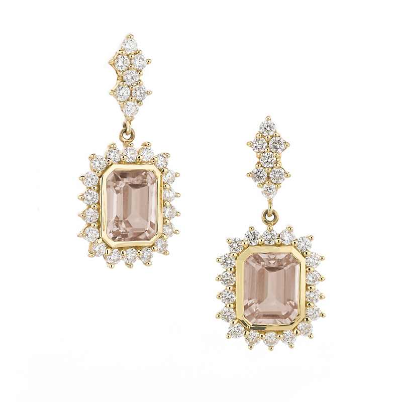 Elizabeth Showers Morganite & Diamond Deco Earrings