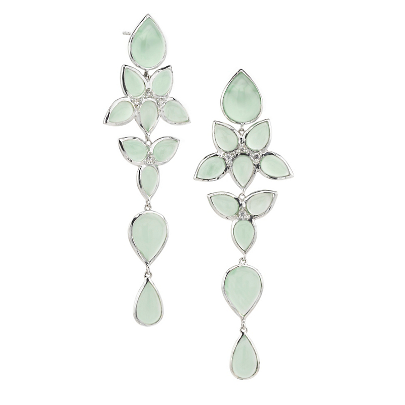 Elizabeth Showers Magic Prehnite & White Sapphire Long Mariposa Earrings