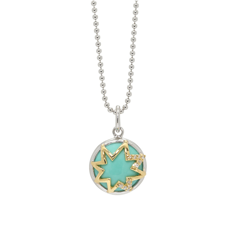 Elizabeth Showers Starburst Turquoise & Diamond Necklace