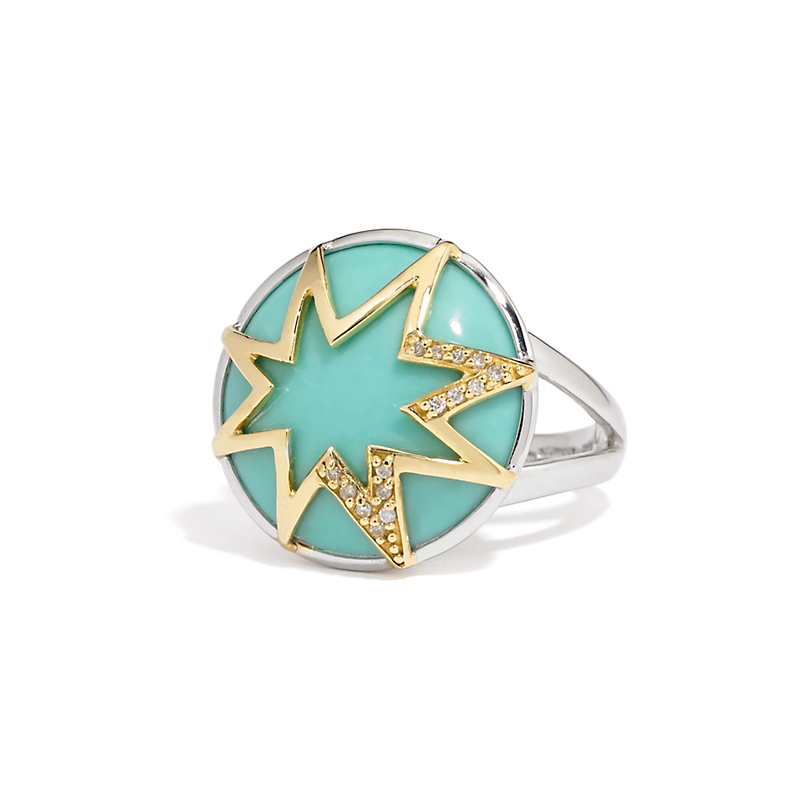 Elizabeth Showers Large Starburst Turquoise & Diamond Ring