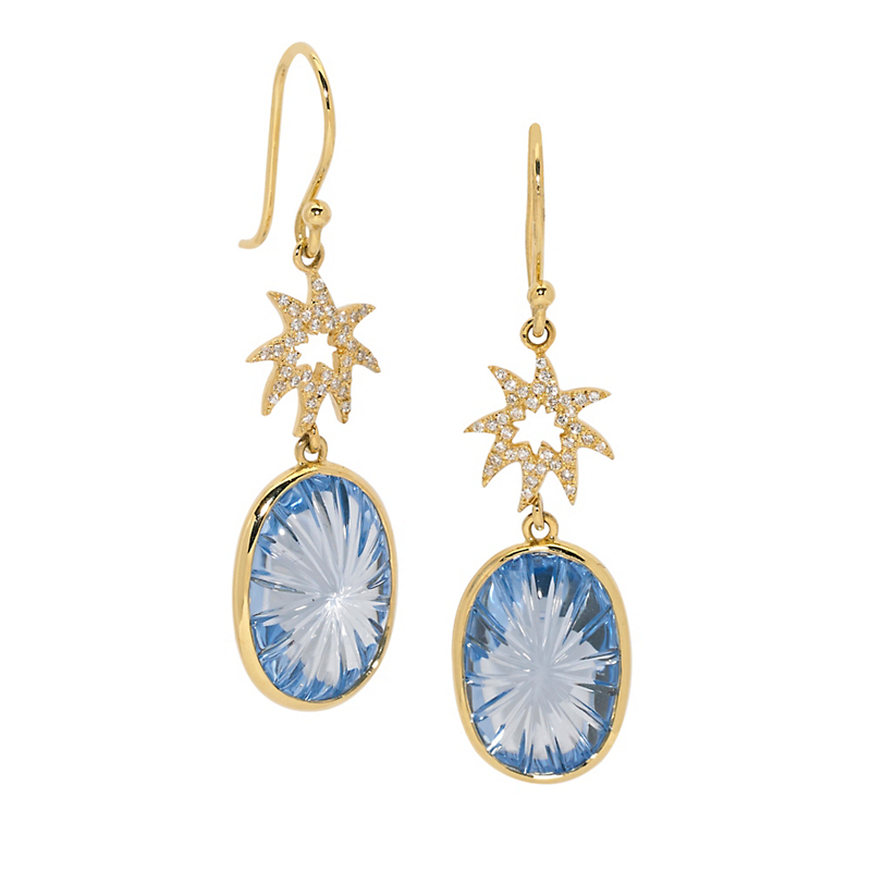 Elizabeth Showers Diamond Hope Star & Carved Sky Blue Topaz Earrings