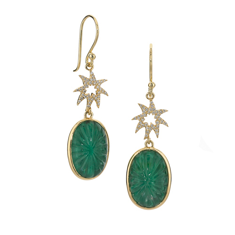 Elizabeth Showers Diamond Hope Star & Carved Quartz Over Malachite Earrings