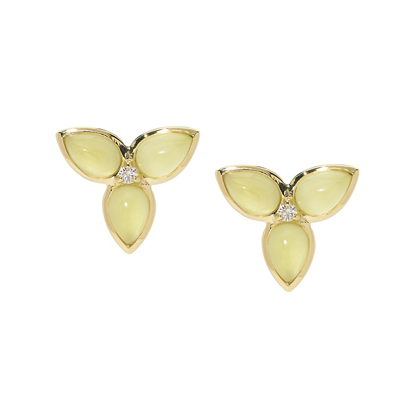 Elizabeth Showers Mariposa Lemon Magnesite Diamond & Gold Earrings