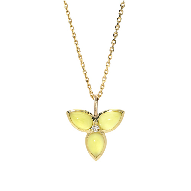 Elizabeth Showers Mariposa Lemon Magnesite Diamond & Gold Necklace
