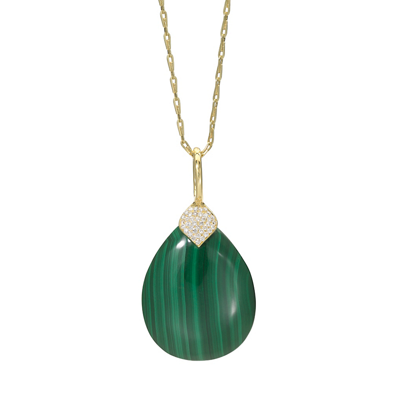 Elizabeth Showers Eliza Malachite & Diamond Teardrop Pendant
