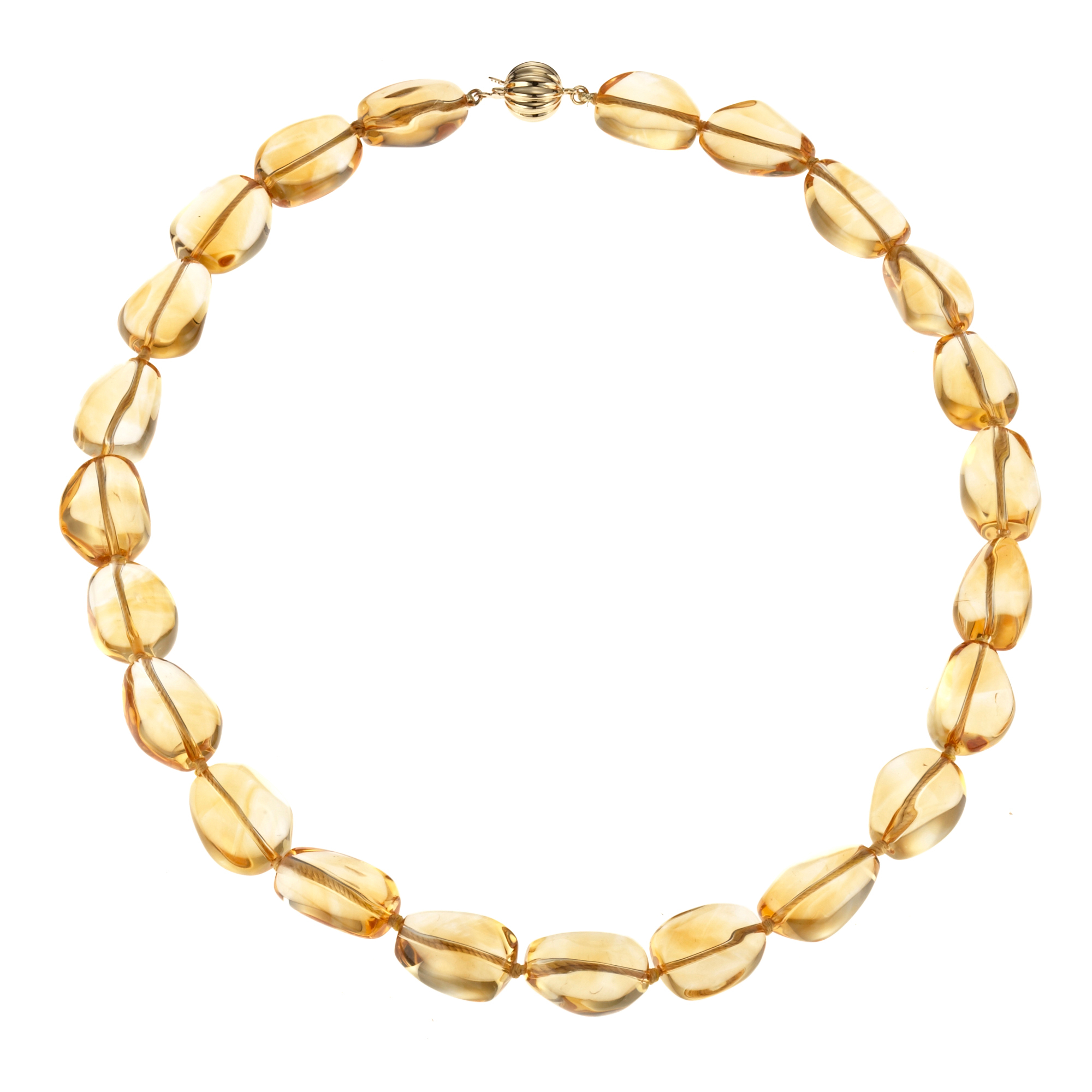 Gump's Citrine Pebble & Fluted Gold Necklace