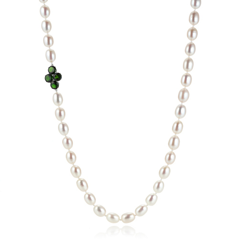 Gump's Chrome Diopside & Pearl Rope
