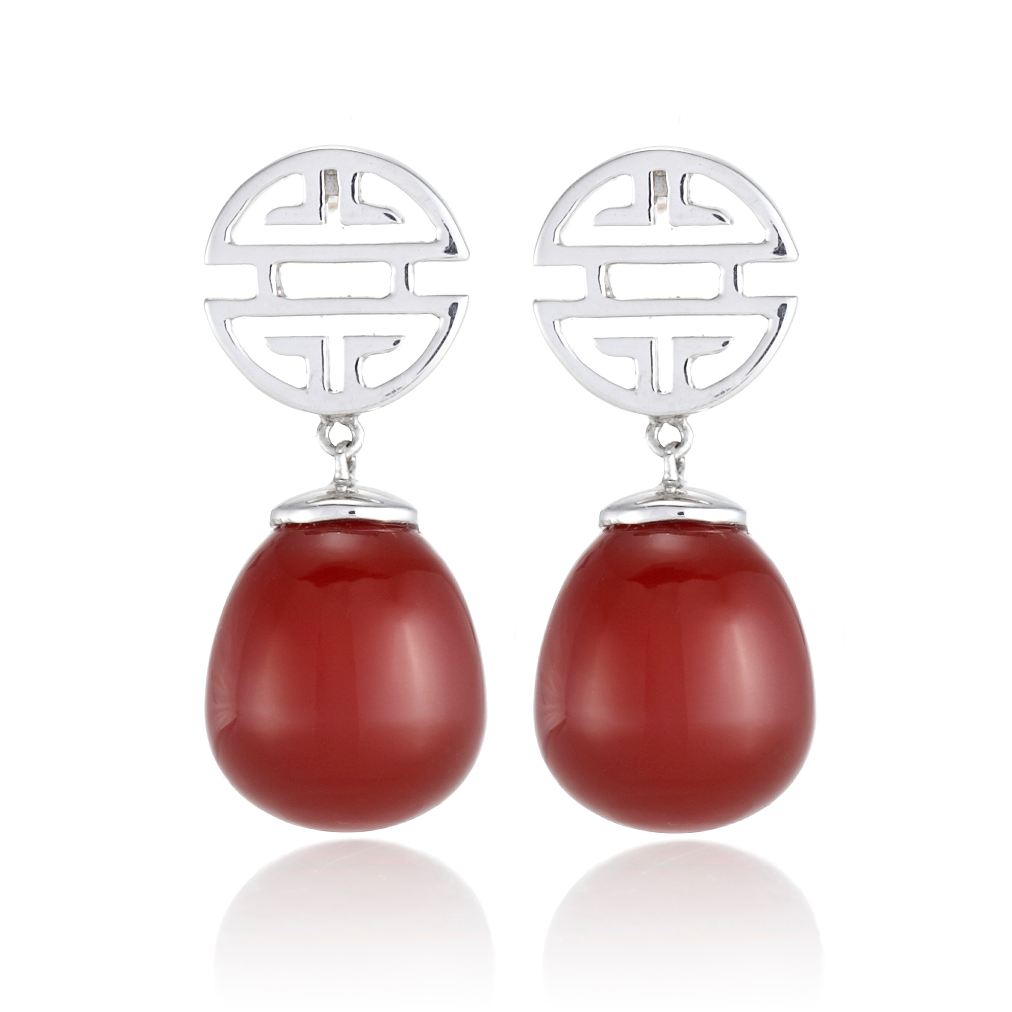 Gump's Silver Shou & Carnelian Drop Earrings