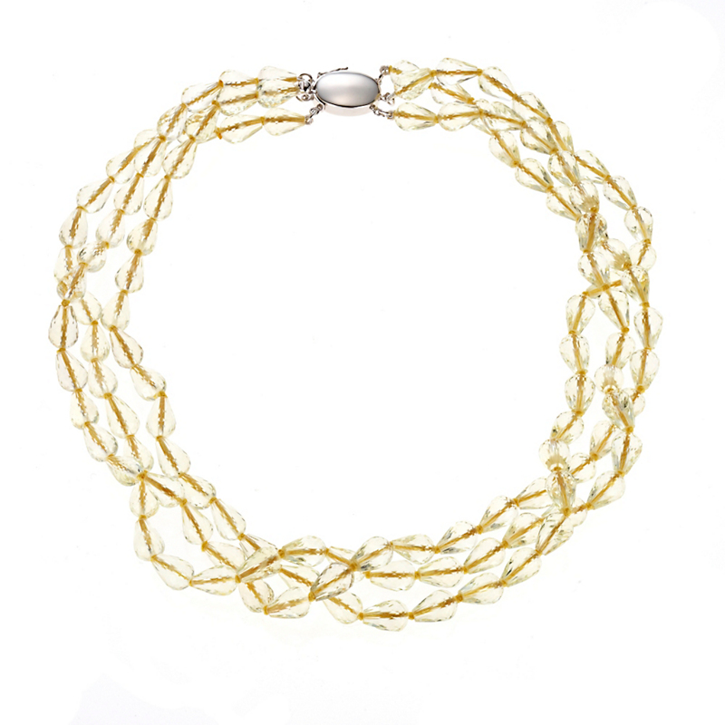 Gump's 3-Strand Lemon Quartz Necklace