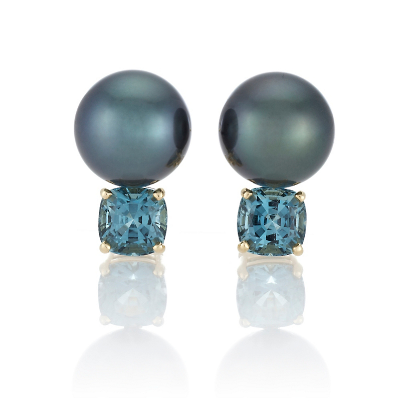 Gump's Blue Tourmaline Tahitian Pearl Earrings
