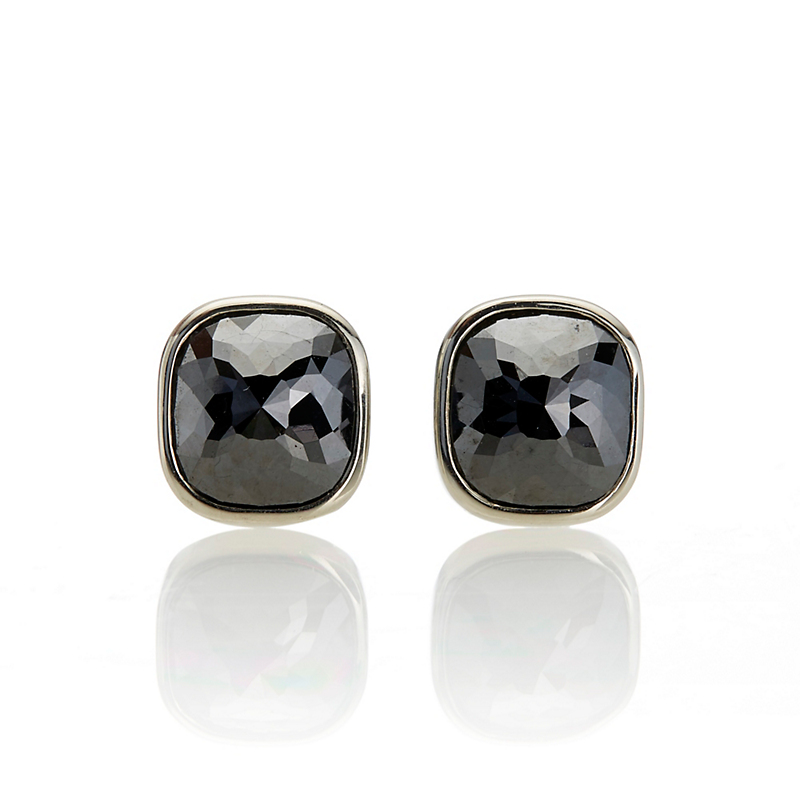 Gump's Black Diamond Rounded Square Stud Earrings