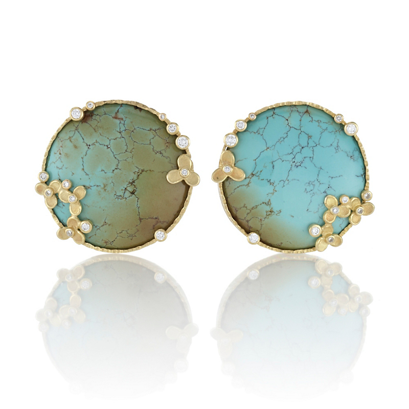 Barbara Heinrich Round Turquoise with Matrix Cabochon & Diamond Earrings