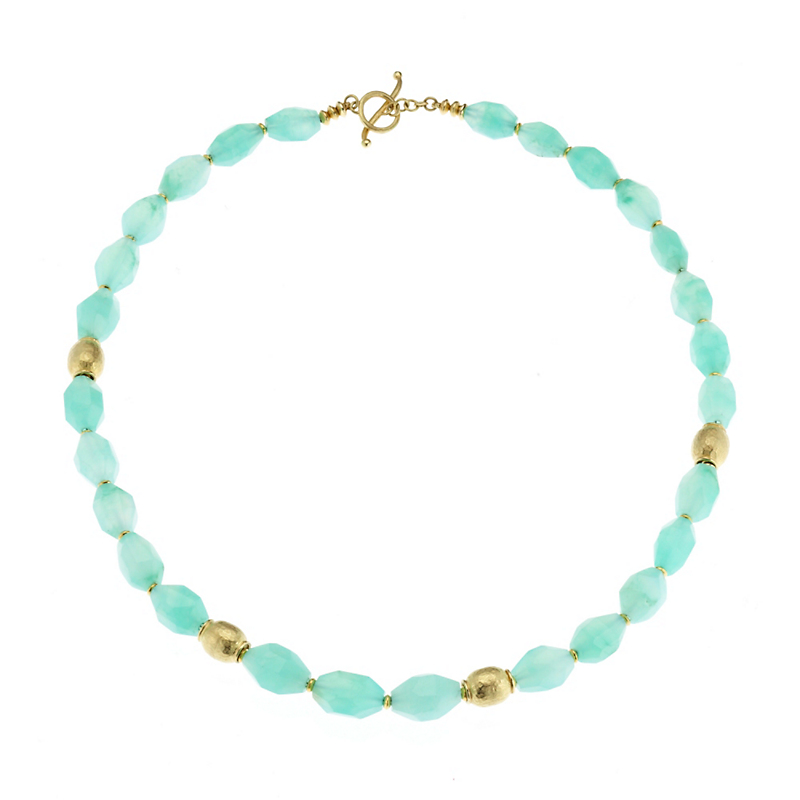 Barbara Heinrich Faceted Chrysoprase with Gold Rondelle & Hammered Bead Necklace